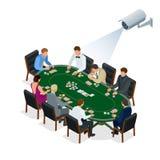 CCTV kamera bezpieczeństwa na isometric ilustraci ludzie bawić się grzebaka przy kasynem 3d isometric wektorowa ilustracja Fotografia Royalty Free
