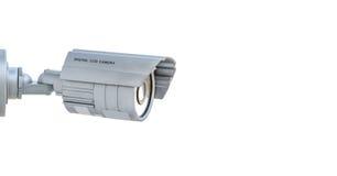 Cctv-Kamera lokalisiert auf weißem Hintergrund. stockbilder