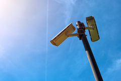 Cctv-kamera, modern eraanti--terrorist elektronisk bevakning Arkivfoto