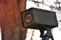 Cctv-kamerasäkerhet som döljas i parkera arkivfoto