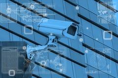 Cctv-kamerateknologi på skärmskärm Arkivbild