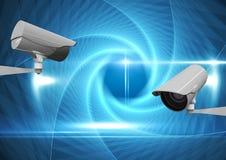CCTV kamery przeciw błękitnemu abstrakcjonistycznemu tłu ilustracja wektor