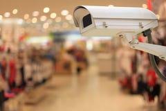 CCTV kamery w zakupów centrach handlowych i kopii przestrzeń obraz royalty free