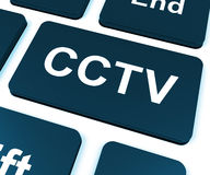CCTV Key Shows Camera Monitoring Or Online Surveillance Royalty Free Stock Images