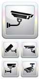 CCTV labels, video surveillance, set button Royalty Free Stock Images