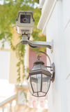 CCTV with lamp Royalty Free Stock Images