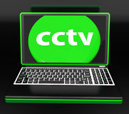 CCTV Laptop Monitoring Shows Security Protection Royalty Free Stock Photos