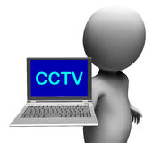 CCTV Laptop Shows Monitored Protection Or Monitoring Online Stock Photography