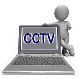 CCTV Laptop Shows Surveillance Protection Or Monitoring Online Royalty Free Stock Images