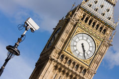 CCTV looking at Big Ben. An angled shot of a CCTV camera pointing towards Big Ben, in London, UK Stock Photography