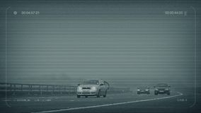 CCTV Misty Highway With Cars Passing illustrazione di stock