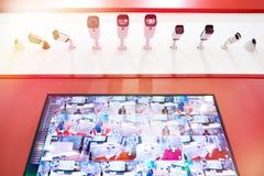 CCTV monitor i kamery obraz stock