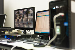 Cctv monitor in security room center Royalty Free Stock Images