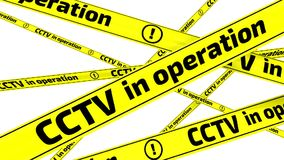 CCTV na operação Fitas de advertência amarelas no movimento ilustração royalty free