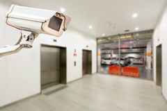 CCTV operating in car park building Royalty Free Stock Images