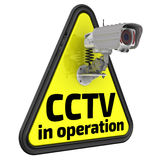 CCTV in operation. Road sign Stock Images