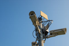 Cctv outdoor with sky Royalty Free Stock Image