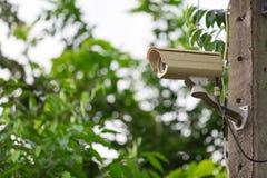 CCTV på grön naturbakgrund Royaltyfri Fotografi