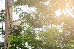 CCTV på grön naturbakgrund Arkivbild