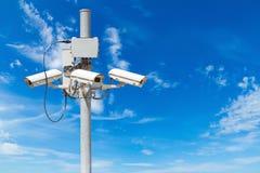CCTV pillar with beautiful blue sky Stock Images