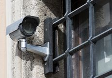 CCTV at Prison Bars Royalty Free Stock Photography