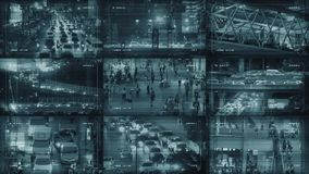 CCTV Monitors Display With City Scenes