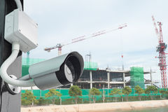 Cctv  in secure construction site Royalty Free Stock Photography