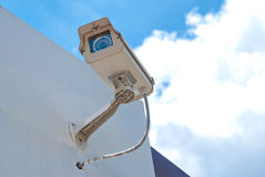 CCTV security camera. At home and blue sky Stock Photo