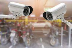 CCTV security camera in car or motorcycle park building.  royalty free stock photos