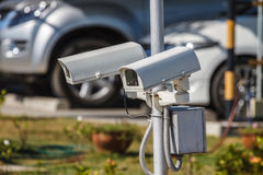 CCTV security camera at car park Stock Images