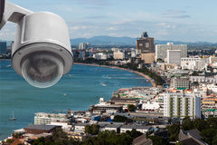 CCTV for Security Camera with cityscape Stock Photos