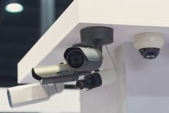 CCTV security camera at the exhibition stand. Industry Royalty Free Stock Photos