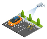 CCTV security camera on isometric illustration of electric car parking. 3d isometric vector illustration. Royalty Free Stock Images