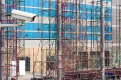 CCTV security camera on monitor the construction site workers.  Stock Photography
