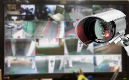 CCTV security camera monitor in office building Stock Images