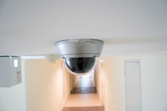 CCTV security camera monitor in office building. Lighting in studio Stock Photo