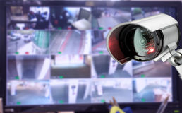 CCTV security camera monitor in office building royalty free stock photography
