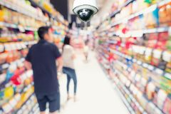 CCTV security camera observation and monitoring in department st. Ore royalty free stock photos