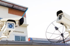 The CCTV Security Camera operating on backyard roofing house Stock Photos