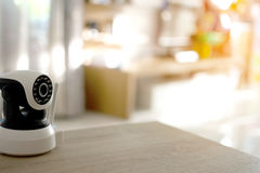The CCTV security camera operating in home. Stock Photos