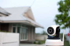 CCTV security camera operating in home. CCTV security camera operating in home Stock Photos