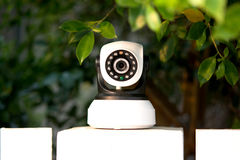 CCTV security camera operating in home. stock photos