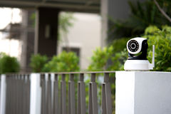 CCTV security camera operating in home. CCTV security camera operating in home Royalty Free Stock Photos