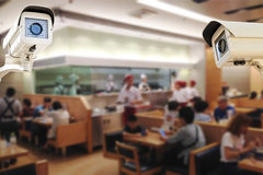 CCTV Security Camera operating japaness restaurant blur backgro Royalty Free Stock Photos