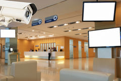 The CCTV security camera operating in medical record hospital bl. Ur background stock images