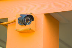 CCTV security camera outdoor at car park Royalty Free Stock Photos