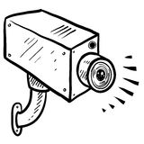 CCTV security camera sketch Royalty Free Stock Photo