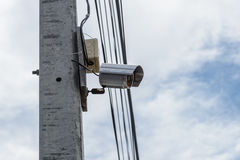 CCTV security camera or surveillance camera on a pole Royalty Free Stock Photography