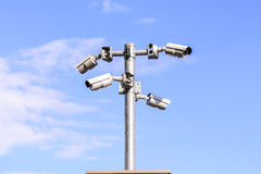 CCTV security camera for surveillance operaiting events in city Royalty Free Stock Photo