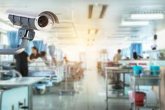 CCTV security camera or surveillance system operating observation interior hospital. Ward room Royalty Free Stock Images